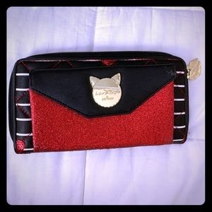Luv Betsey wallet Cat Red Hearts black